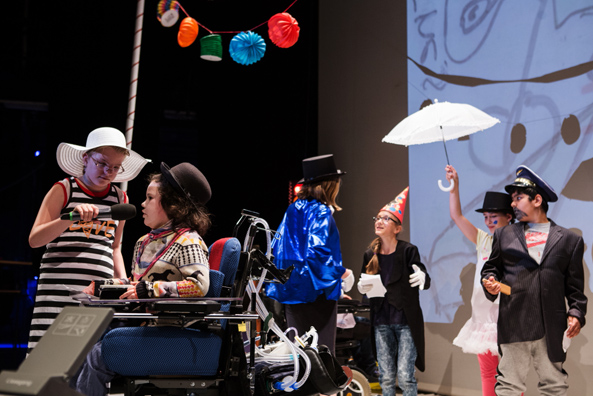 """Max"", theatre play based on Alfred Döblin, presented by schoolchildren of the Carl-von-Linné-Schule at the ""Children in Exile"" exhibition opening, June 2016."