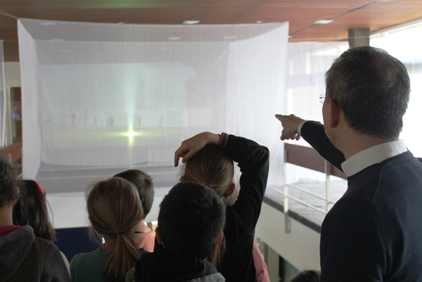 "Curator's tour for schoolchildren of a 3rd grade class, with Wilfried Wang, through the exhibition ""DEMO:POLIS – The Right to Public Space"", April 2016."